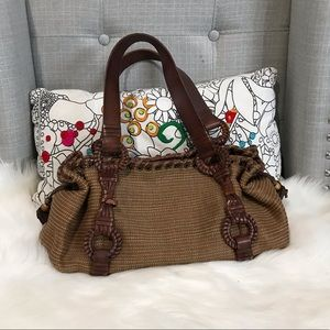 fossil woven leather bag